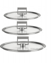 Cristel Cristel STRATE FIXE Set of 3 Flat Glass Lid 16-18-20cm-20